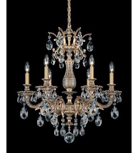 Schonbek Milano 6 Light Chandelier in Florentine Bronze and Clear Spectra Crystal Trim 5676-83A photo