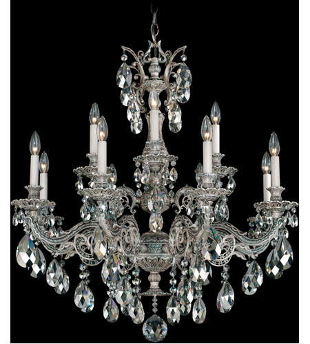 Schonbek Milano 12 Light Chandelier in Cypress and Silver Shade Swarovski Elements Colors Trim 5682-88SH photo
