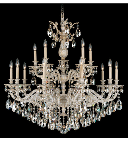 Schonbek Milano 15 Light Chandelier in Provincial Gold and Golden Shadow Swarovski Elements Colors Trim 5685-85GS photo