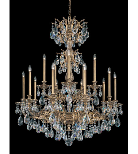 Schonbek Milano 15 Light Chandelier in Florentine Bronze and Clear Spectra Crystal Trim 5686-83A photo
