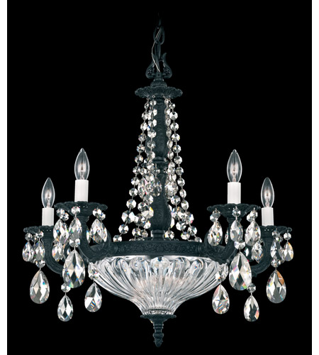 Schonbek Milano 7 Light Chandelier in Ferro Black and Silver Shade Swarovski Elements Colors Trim 5690-59SH photo