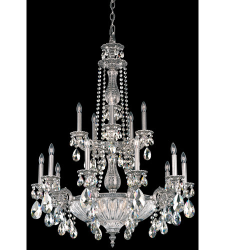 Schonbek Milano 19 Light Chandelier in Roman Silver and Silver Shade Swarovski Elements Colors Trim 5694-80SH photo
