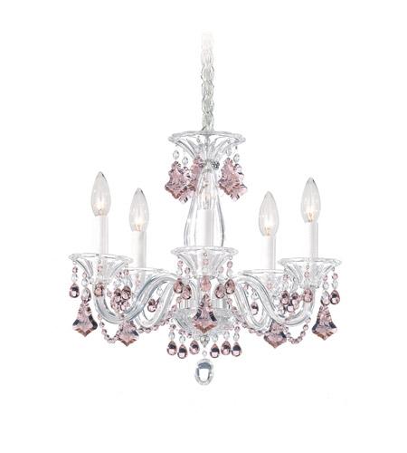 Schonbek Chandelier Replacement Crystals: Schonbek Minuet 5 Light Chandelier In Silver And Pink