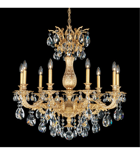 Schonbek 5679-27A Milano 9 Light 30 inch Parchment Gold Chandelier Ceiling Light in Clear Spectra photo