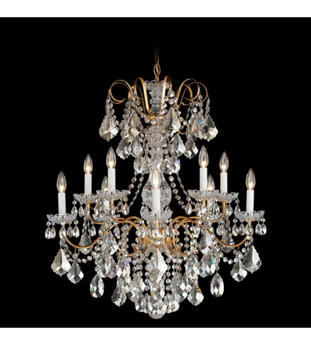 Schonbek New Orleans 10 Light Chandelier in French Gold and Silver Shade Swarovski Elements Colors Trim 3657-26SH photo