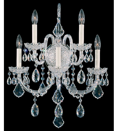 Schonbek Olde World 5 Light Wall Sconce in Silver and Crystal Swarovski Elements Trim 6806-40S photo