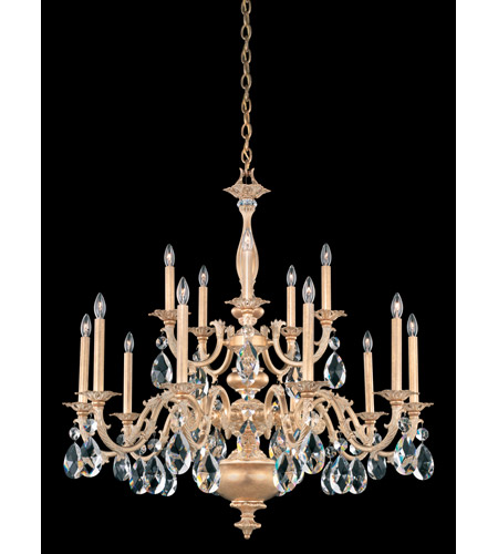 Schonbek Palio 15 Light Chandelier in Parchment Gold and Clear Spectra Crystal Trim PA6525N-27A photo