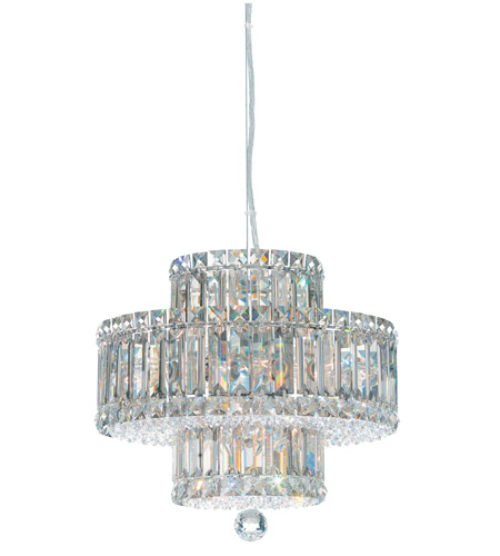Schonbek Plaza 9 Light Pendant in Stainless Steel and Silver Shade Swarovski Elements Trim 6671SH photo
