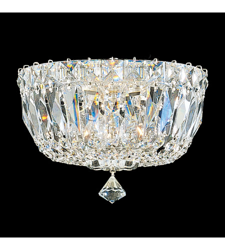 Schonbek 5890-40M Petit Crystal Deluxe 3 Light 8 inch Silver Flush Mount Ceiling Light in Clear Gemcut photo