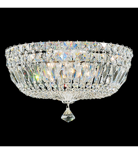 Schonbek 5893-40M Petit Crystal Deluxe 5 Light 14 inch Silver Flush Mount Ceiling Light in Clear Gemcut photo
