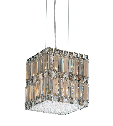 Schonbek Quantum 8 Light Pendant in Stainless Steel and Silver Teak Swarovski Elements Trim 2246ST photo