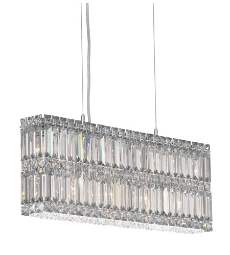 Schonbek Quantum 9 Light Pendant in Stainless Steel and Silver Shade Swarovski Elements Trim 2263SH photo