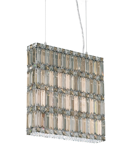 Schonbek Quantum 11 Light Pendant in Stainless Steel and Silver Teak Swarovski Elements Trim 2292ST photo