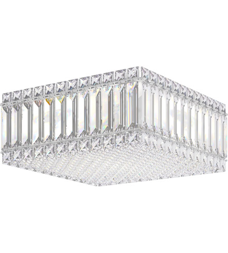 Schonbek 2124A Quantum 4 Light 12 inch Stainless Steel Flush Mount Ceiling Light in Clear Spectra photo