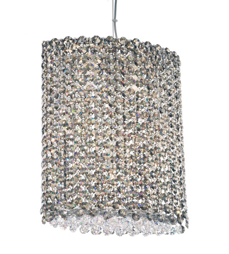 Schonbek Refrax 6 Light Pendant in Stainless Steel and Golden Teak Swarovski Elements Trim RE1012TK photo