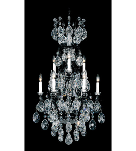Schonbek Renaissance 10 Light Chandelier in Wet Black and Clear Heritage Handcut Trim 3780-55 photo