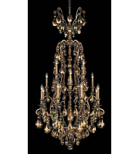 Schonbek Renaissance 17 Light Chandelier in Etruscan Gold and Golden Teak Swarovski Elements Colors Trim 3782-23TK photo