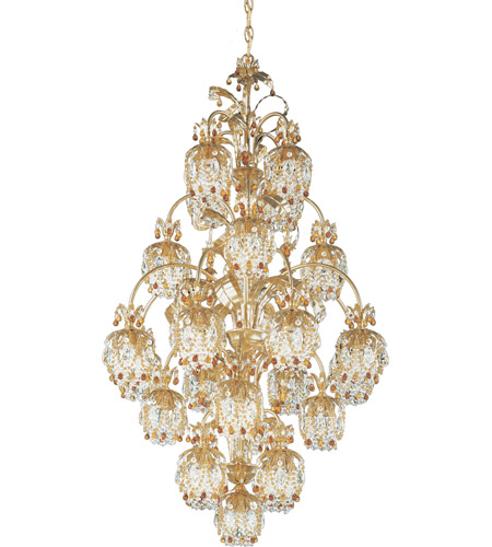 Schonbek Rondelle 25 Light Chandelier in French Gold and Topaz Vintage Crystal Trim 1275-26TO photo