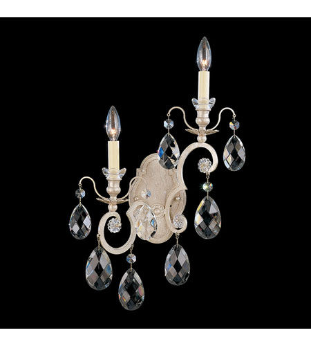 Schonbek Renaissance 2 Light Wall Sconce in Antique Silver and Silver Shade Swarovski Elements Colors Trim 3758-48SH photo