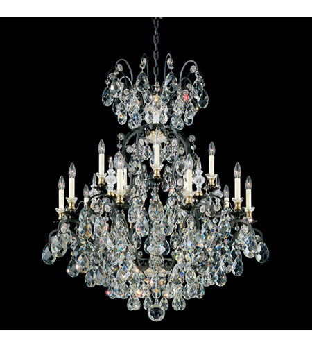 Schonbek Renaissance 16 Light Chandelier in Black and Silver Shade Swarovski Elements Colors Trim 3773-51SH photo