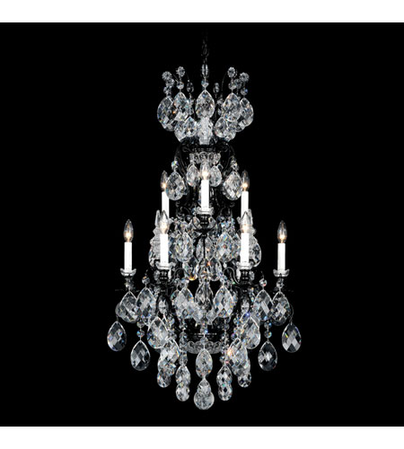 Schonbek Renaissance 10 Light Chandelier in Wet Black and Clear Swarovski Elements Colors Trim 3780-55GS photo