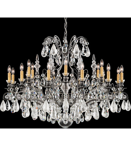 Renaissance Rock Crystal 18 Light 40 Inch Antique Silver Chandelier Ceiling In Clear