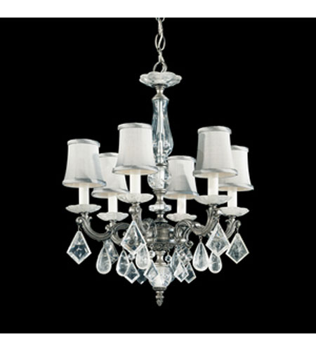 Schonbek Roma 6 Light Chandelier in Antique Pewter with Clear Rock Crystal 5496-47 photo