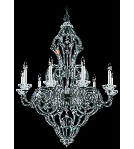 Schonbek Scheherazade 9 Light Chandelier in Black and Crystal Swarovski Elements Trim 9624-51 photo