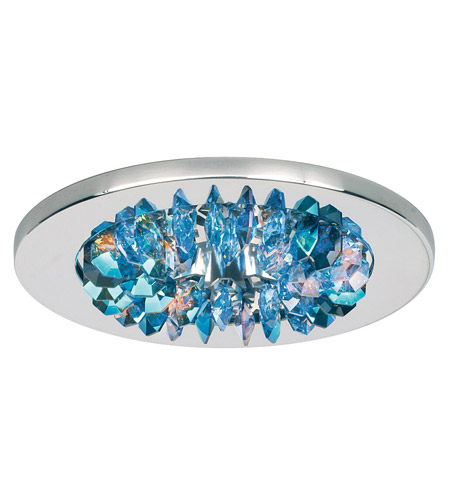 Schonbek Slices 1 Light Recessed Light in Stainless Steel and Beyond Blue Swarovski Elements Trim SLR431BEY photo