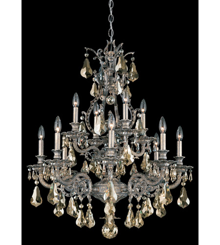 Schonbek Sophia 12 Light Chandelier in Gilded Pewter and Golden Shadow Heritage Handcut Colors Trim 6958-89GS photo