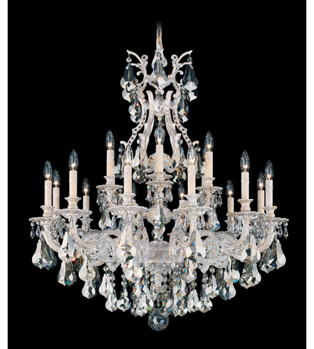 Schonbek Sophia 18 Light Chandelier in Provincial Gold and Silver Shade Heritage Handcut Colors Trim 6960-85SH photo