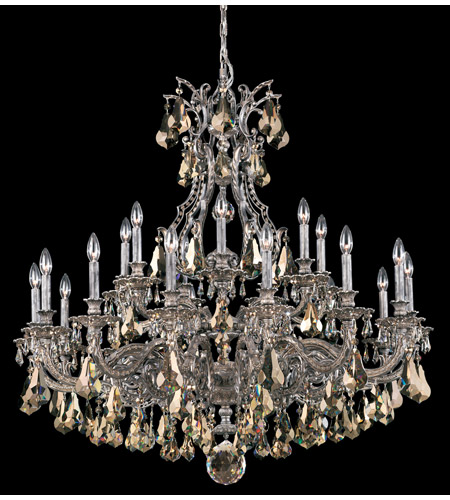 Schonbek Sophia 21 Light Chandelier in Royal Pewter and Golden Shade Heritage Handcut Colors Trim 6961-84TK photo