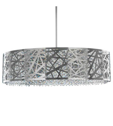 Schonbek Shadow Dance 8 Light Pendant in Brushed Stainless Steel and Clear Spectra Crystal Trim SH0805N-16A photo