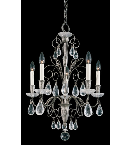 Schonbek Tesoro 5 Light Chandelier in Antique Pewter and Clear Rock Crystal Trim 9705-47 photo