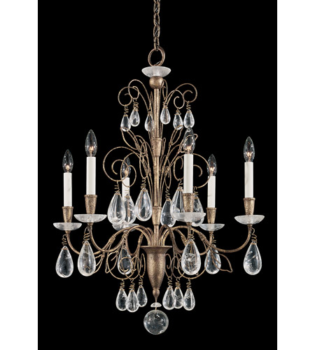 Schonbek Tesoro 6 Light Chandelier in Bronze Gold and Clear Rock Crystal Trim 9706-28 photo