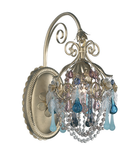 Schonbek The Rose 1 Light Wall Sconce in Heirloom Gold and Mint Julep Vintage Crystal Colors Trim 1415-22MJ photo