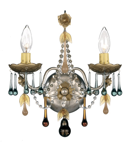 Schonbek The Rose 2 Light Wall Sconce in Antique Silver and Autumn Vintage Crystal Colors Trim 1422-48AN photo