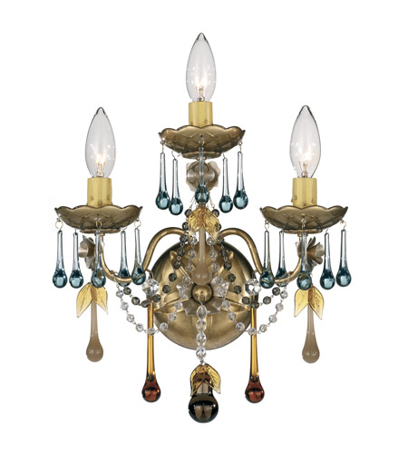 Schonbek The Rose 3 Light Wall Sconce in Heirloom Gold and Autumn Vintage Crystal Colors Trim 1423-22AN photo