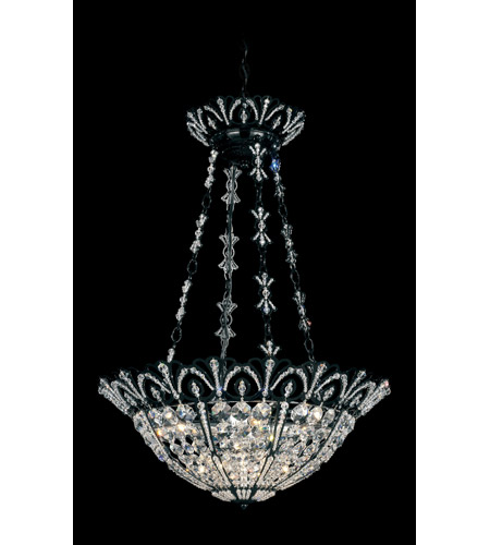 Schonbek Tiara 7 Light Pendant in Wet Black and Clear Spectra Crystal Trim 9847-55 photo