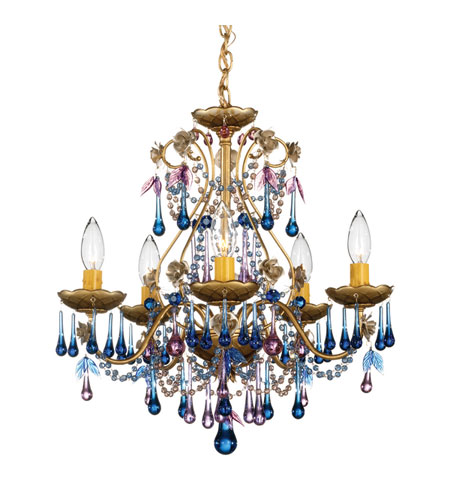 Schonbek The Rose 5 Light Chandelier in Heirloom Gold and Blue Violet Vintage Crystal Colors Trim 1425-22BV photo