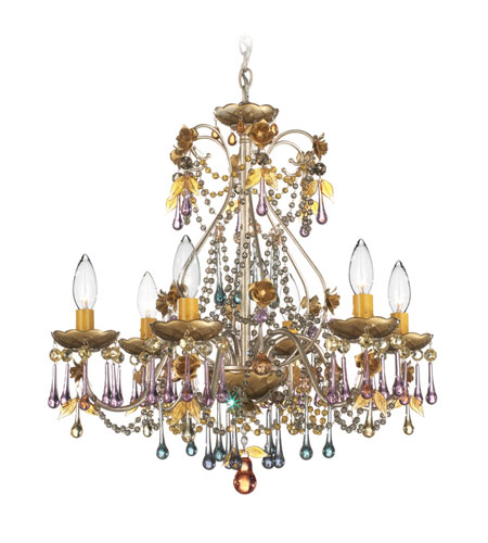 Schonbek The Rose 6 Light Chandelier In Antique Silver And