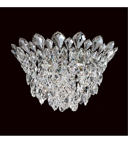 Schonbek TR1201N-401A Trilliane Strands 4 Light Stainless Steel Flush Mount Ceiling Light in Clear Spectra photo