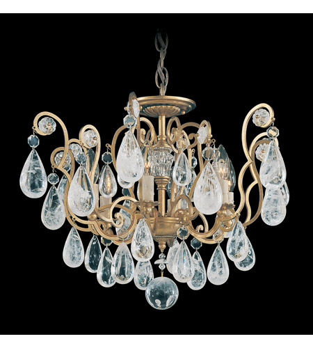 Schonbek Versailles Rock Crystal 6 Light Chandelier in Heirloom Gold and Clear Rock Trim 2484-22 photo