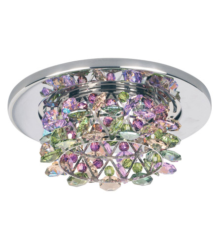 Schonbek Vertex 1 Light Recessed Light in Stainless Steel and Waterlily Swarovski Elements Trim VCR432WAT photo