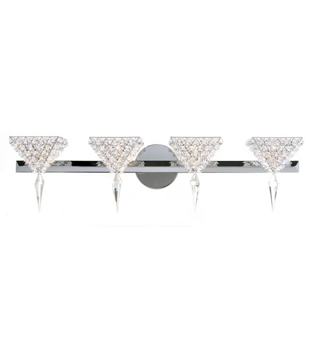 Schonbek Vertex 4 Light Wall Sconce in Stainless Steel and Santorini Swarovski Elements Trim VRW2808SAN photo