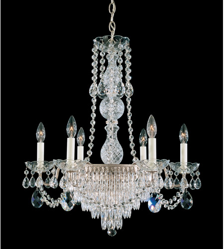 Schonbek Windsor 7 Light Chandelier in Antique Silver and Clear Legacy Collection Trim 1353-48 photo
