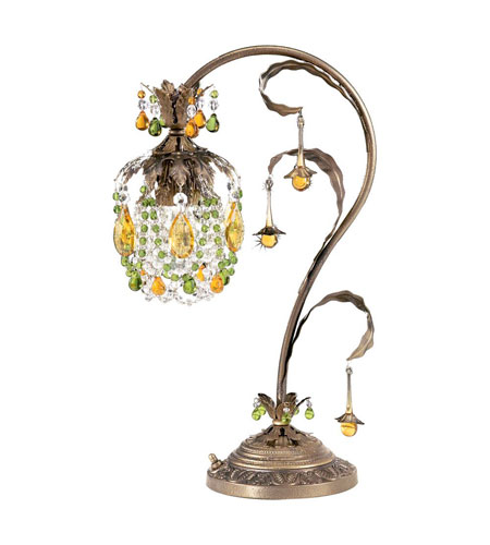 Schonbek Rondelle 1 Light Table Lamp in Etruscan Gold and Olivine & Topaz Vintage Crystal Trim 1249-23OL photo