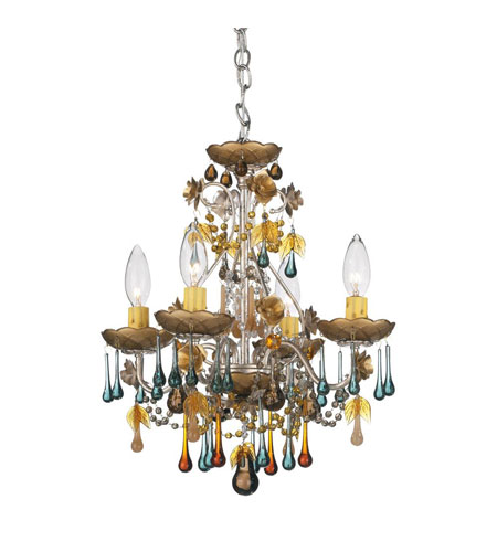Schonbek The Rose 4 Light Chandelier in Antique Silver and Autumn Vintage Crystal Colors Trim 1424-48AN photo