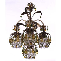 Schonbek Rondelle 4 Light Chandelier in Etruscan Gold and Olivine & Topaz Vintage Crystal Trim 1264-23OL
