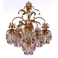 Schonbek Rondelle 6 Light Chandelier in French Gold and Topaz Vintage Crystal Trim 1266-26TO